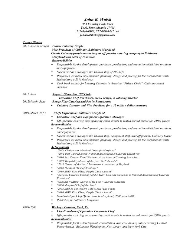 Caterer Resume. Chef Resume Sample, Examples, Sous, Chef Jobs ...