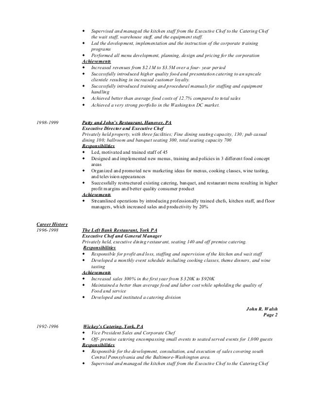 kitchen staff resume