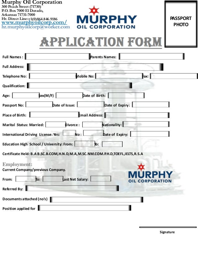 Murphy Oil Corporation Job Application Form Usa