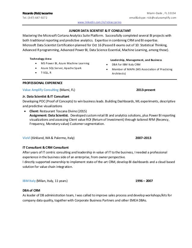 rick iaccarino resume data scientist it consultant v2