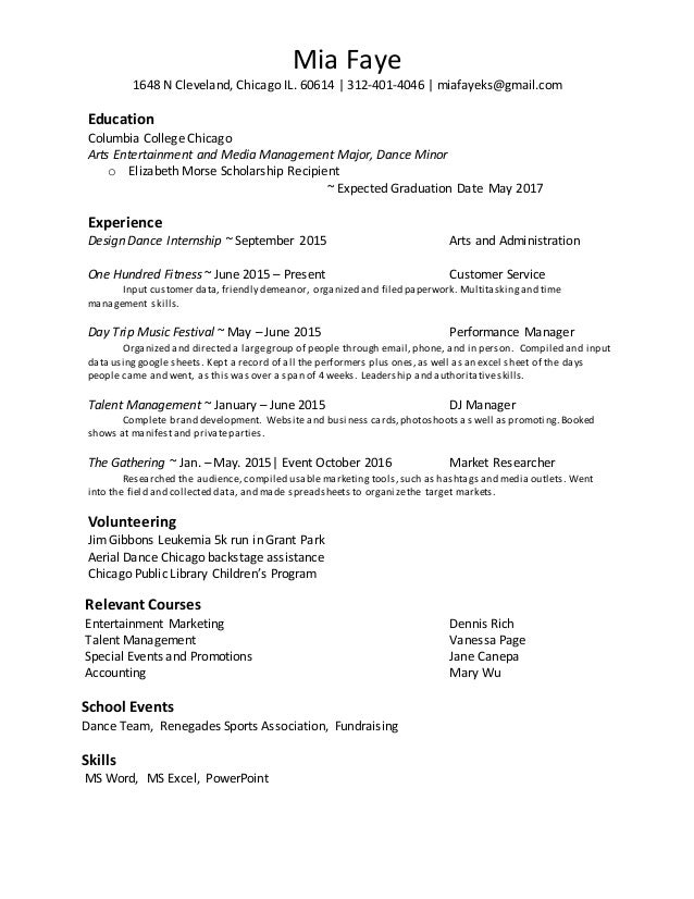 Management Resume