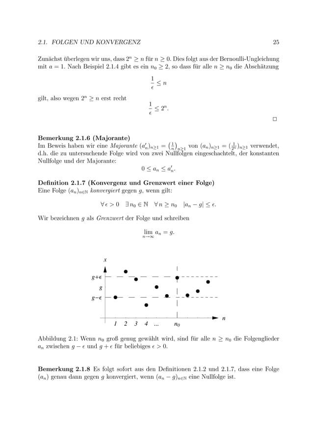 2.1. FOLGEN UND KONVERGENZ 25 Zun¨achst ¨uberlegen wir uns, dass 2n ≥ n f¨ur n ≥ 0. Dies folgt aus der Bernoulli-Ungleichu...
