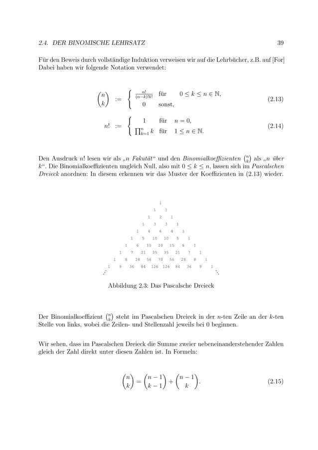 2.4. DER BINOMISCHE LEHRSATZ 39 F¨ur den Beweis durch vollst¨andige Induktion verweisen wir auf die Lehrb¨ucher, z.B. auf ...