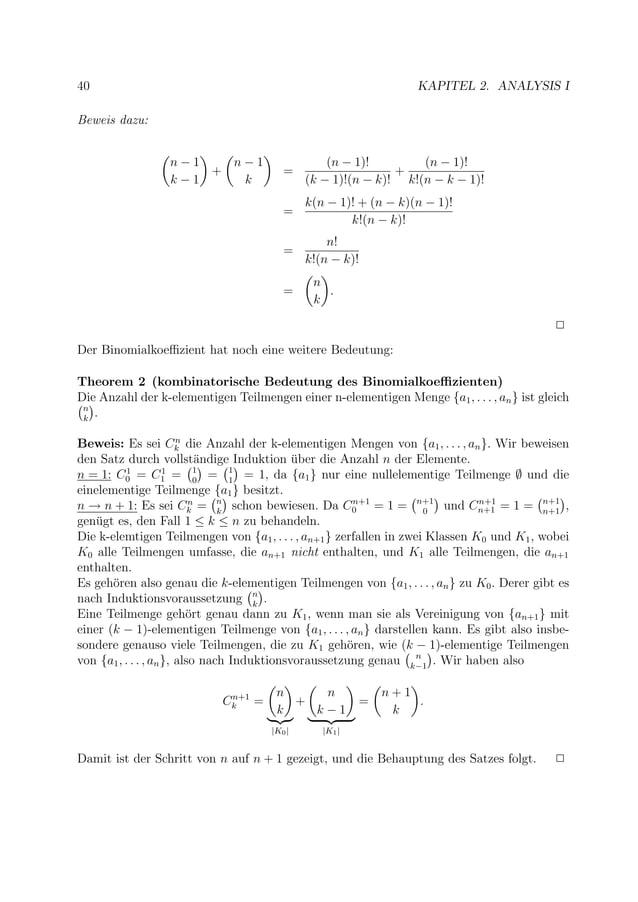 40 KAPITEL 2. ANALYSIS I Beweis dazu: n − 1 k − 1 + n − 1 k = (n − 1)! (k − 1)!(n − k)! + (n − 1)! k!(n − k − 1)! = k(n − ...