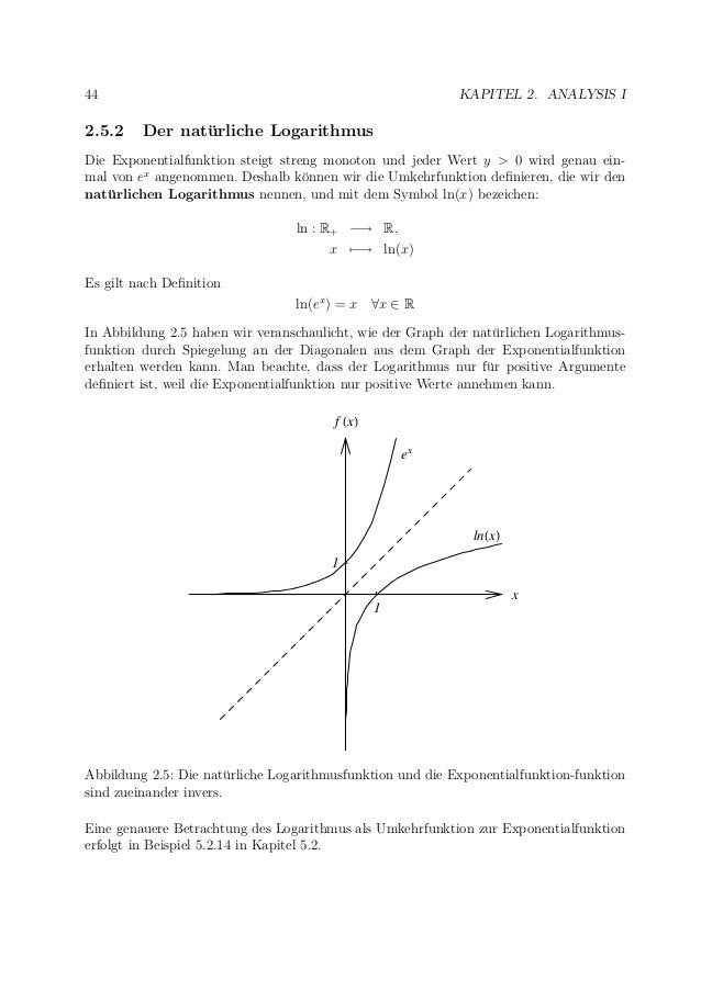 44 KAPITEL 2. ANALYSIS I 2.5.2 Der nat¨urliche Logarithmus Die Exponentialfunktion steigt streng monoton und jeder Wert y ...