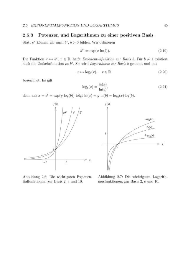 2.5. EXPONENTIALFUNKTION UND LOGARITHMUS 45 2.5.3 Potenzen und Logarithmen zu einer positiven Basis Statt ex k¨onnen wir a...