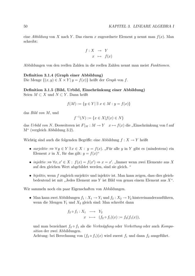 50 KAPITEL 3. LINEARE ALGEBRA I eine Abbildung von X nach Y . Das einem x zugeordnete Element y nennt man f(x). Man schrei...