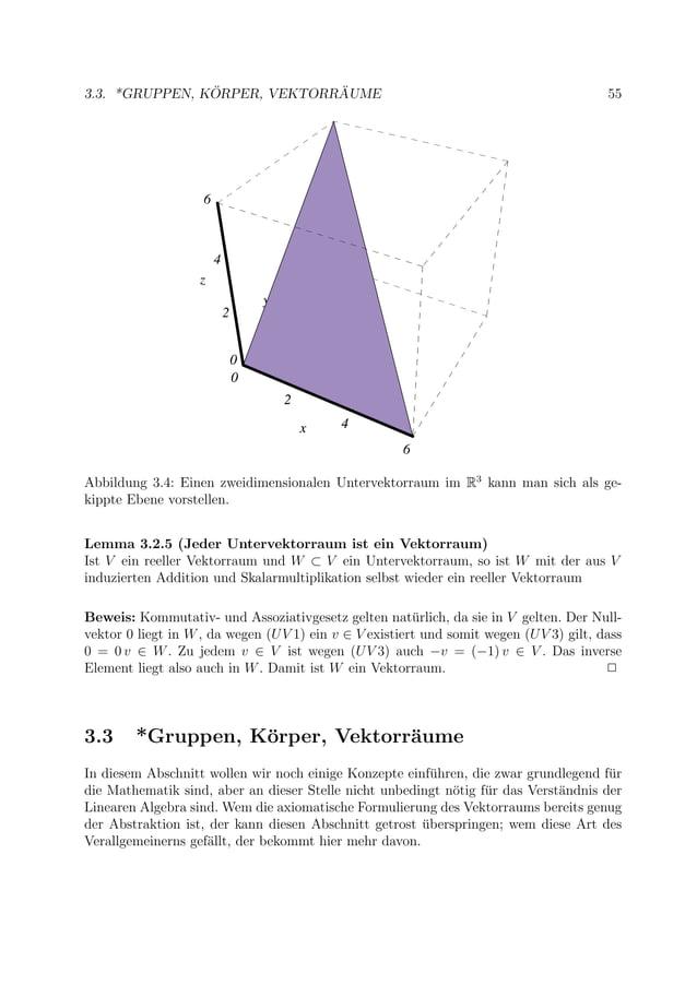 3.3. *GRUPPEN, K ¨ORPER, VEKTORR ¨AUME 55 0 2 4 6 x 0 2 4 6 y 0 2 4 6 z 0 2 4 6 x Abbildung 3.4: Einen zweidimensionalen U...
