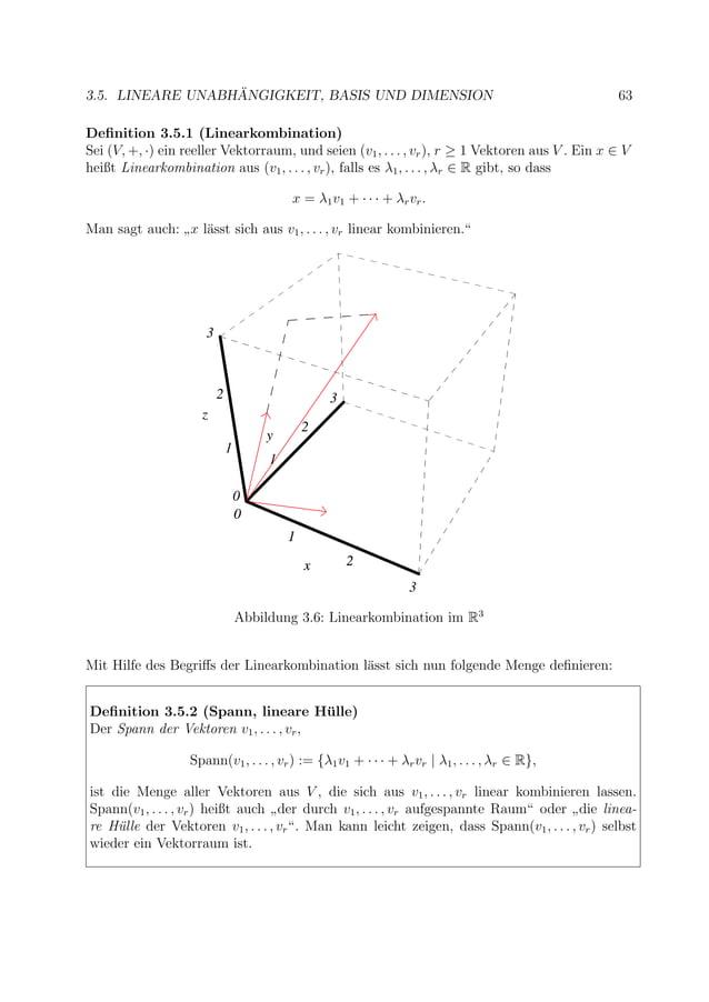 3.5. LINEARE UNABH ¨ANGIGKEIT, BASIS UND DIMENSION 63 Definition 3.5.1 (Linearkombination) Sei (V, +, ·) ein reeller Vektor...