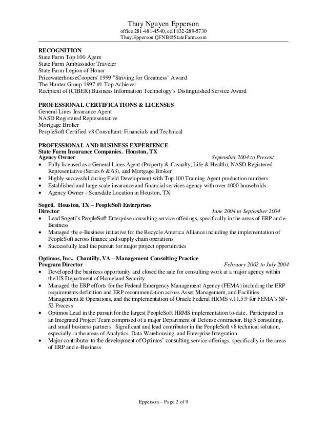 State Farm Resume - A Good Resume Example •
