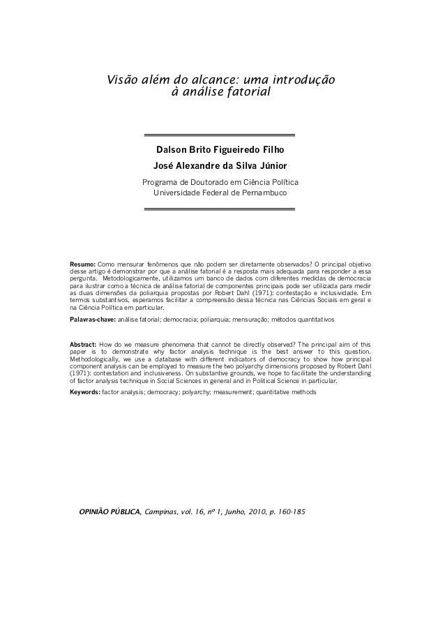 Visão além do alcance: uma introdução                      à análise fatorial                             Dalson Brito Fig...