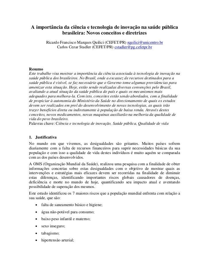 A importância da ciência e tecnologia de inovação na saúde pública              brasileira: Novos conceitos e diretrizes  ...