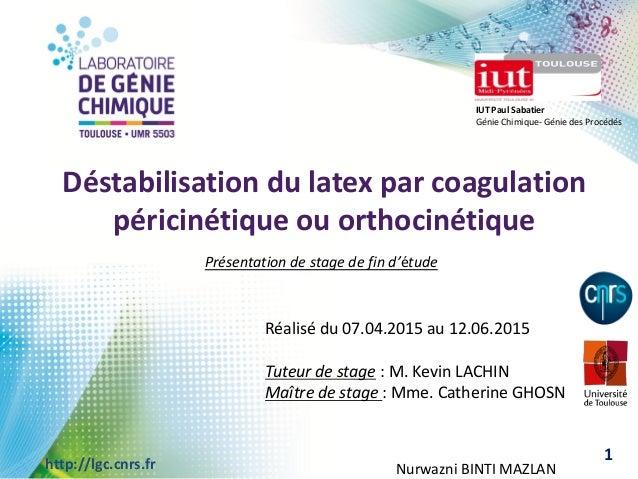 109/09/2013 Conférence …http://lgc.cnrs.fr IUT Paul Sabatier Génie Chimique- Génie des Procédés Déstabilisation du latex p...