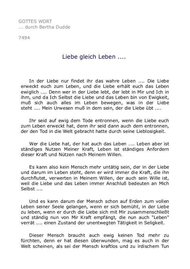 GOTTES WORT  ... durch Bertha Dudde  7494  Liebe gleich Leben ....  In der Liebe nur findet ihr das wahre Leben .... Die L...