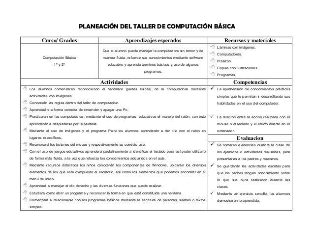 PLANEACIÓN DEL TALLER DE COMPUTACIÓN BÁSICA  Curso/ Grados  Aprendizajes esperados  Recursos y materiales  Computación Bás...