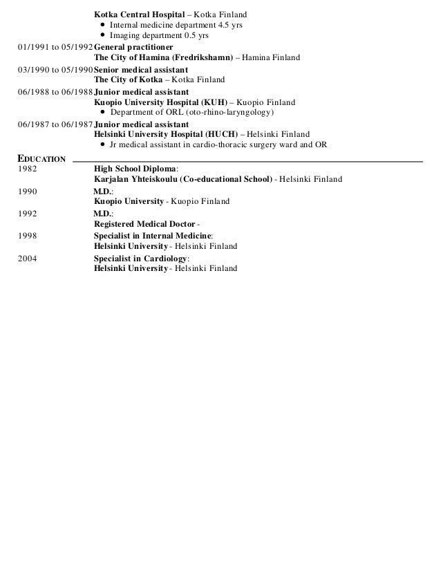 Internist resume