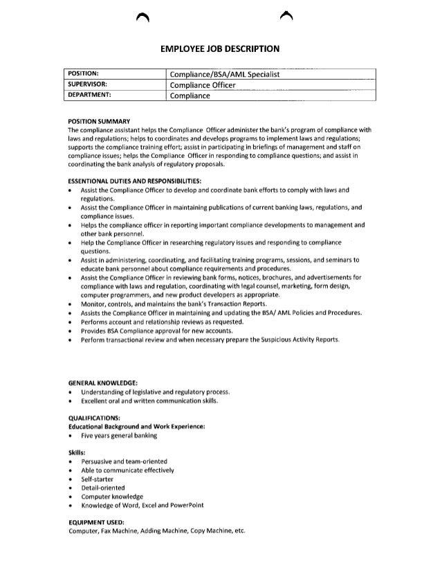 employee job description compliance bsa aml specialist