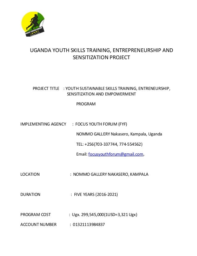 Proposal For Youth Skills Training And Empowerement Programs Open