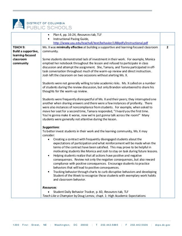 Sample TLF Report Minimally Effective - Dcps lesson plan template