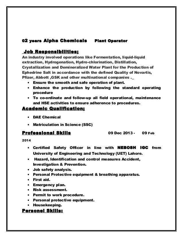 02 Years Alpha Chemicals Plant Operator ... Process Operator Resume Example  .