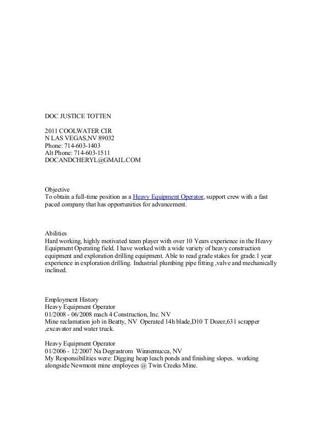 doc u0026 39 s heavy equiptment resume