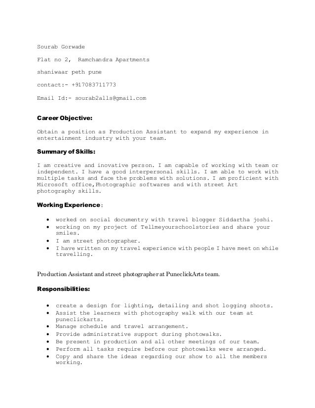 Production Assistant Resume