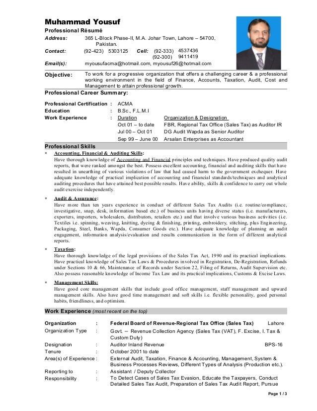 Muhammad Yousuf CV ACMA