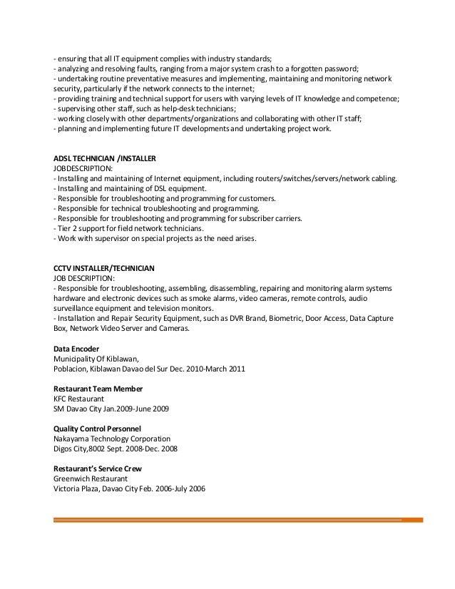 Fantastisch Tier 2 Technical Support Job Description Zeitgenössisch ...