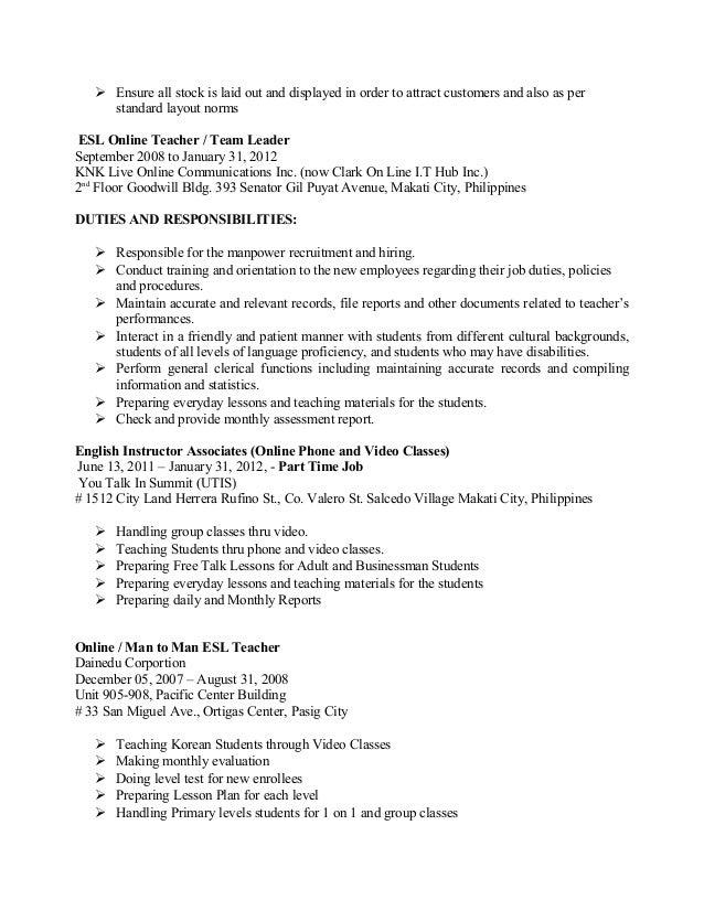 cover letter esl teacher - Esl Teacher Duties