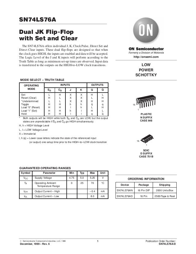 © Semiconductor Components Industries, LLC, 1999 December, 1999 – Rev. 6 1 Publication Order Number: SN74LS76A/D SN74LS76A...