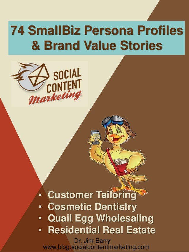 74 SmallBiz Persona Profiles & Brand Value Stories  • • • •  Customer Tailoring Cosmetic Dentistry Quail Egg Wholesaling R...