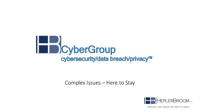 Complex Issues – Here to Stay CyberGroup cybersecurity/data breach/privacy™