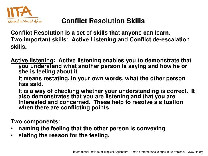the importance of conflict resolution in Resolving conflict is a key part of  approach by applying them to a conflict resolution  with them to clarify the importance of good relationships.