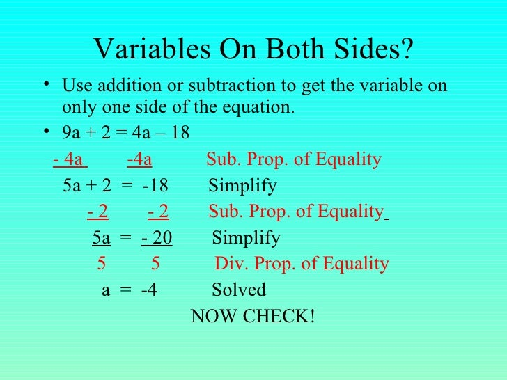 7.5 Equationsw Variables Both Sides
