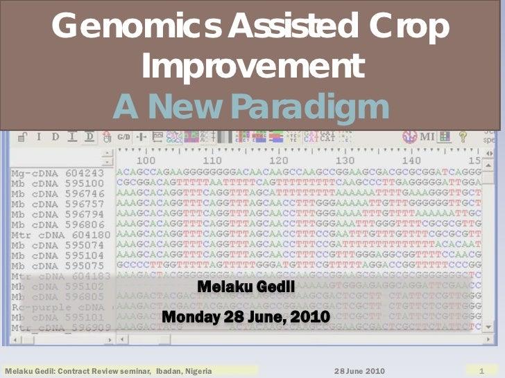 Genomics Assisted Crop               Improvement              A New Paradigm                                              ...