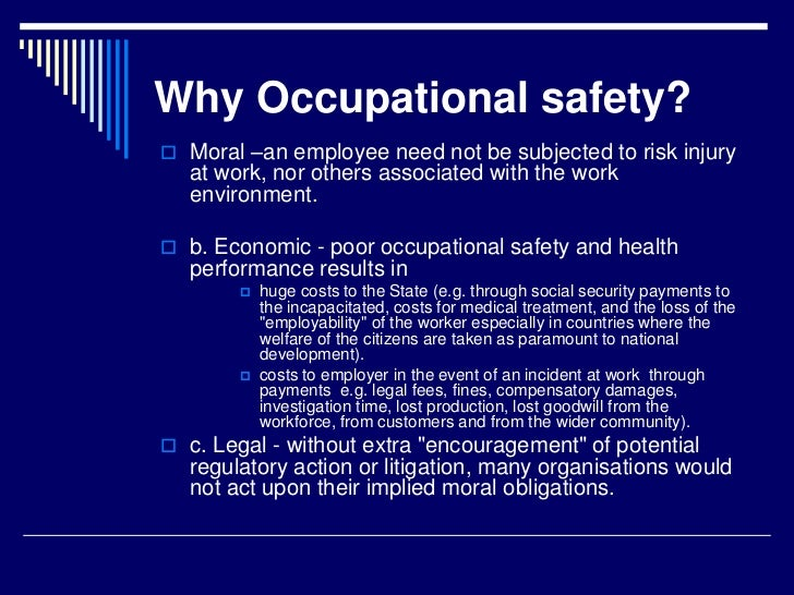 the importance of health and safety Health & safety advice pack for smaller firms sheet 1: why health and safety is important hazards at work whatever sort of business you are, there is always the.