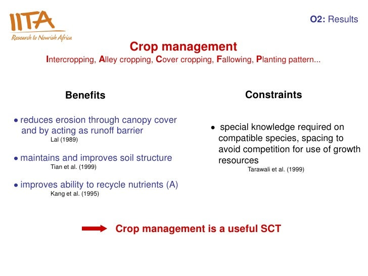 O2: Results                              Crop management      Intercropping, Alley cropping, Cover cropping, Fallowing, Pl...