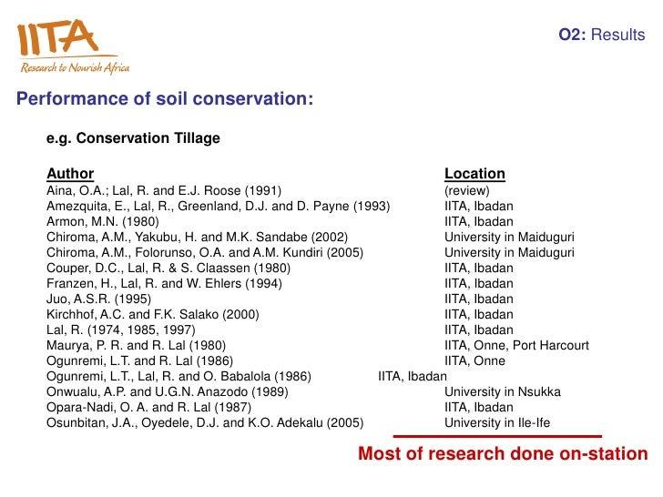 O2: ResultsPerformance of soil conservation:   e.g. Conservation Tillage   Author                                         ...