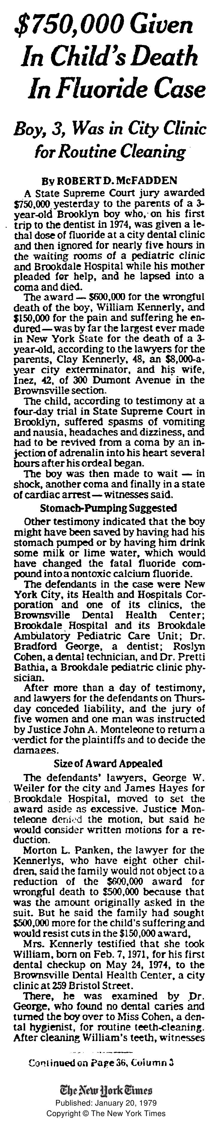 Published: January 20, 1979 Copyright © The New York Times