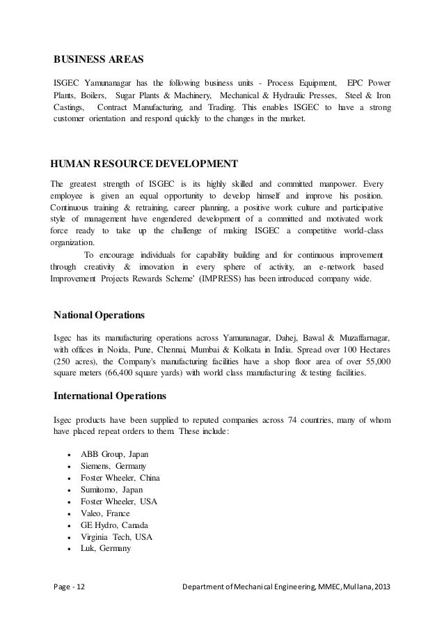 Page - 12 Departmentof Mechanical Engineering,MMEC,Mullana,2013 BUSINESS AREAS ISGEC Yamunanagar has the following busines...