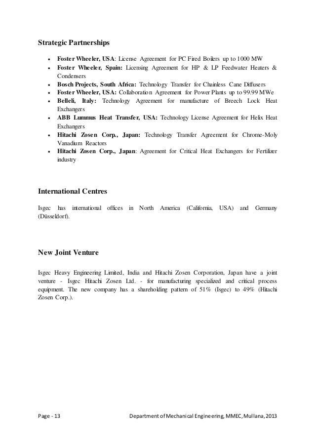 Page - 13 Departmentof Mechanical Engineering,MMEC,Mullana,2013 Strategic Partnerships  Foster Wheeler, USA: License Agre...