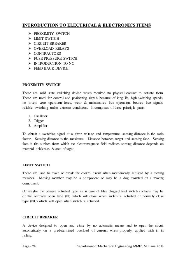 Page - 24 Departmentof Mechanical Engineering,MMEC,Mullana,2013 INTRODUCTION TO ELECTRICAL & ELECTRONICS ITEMS  PROXIMITY...