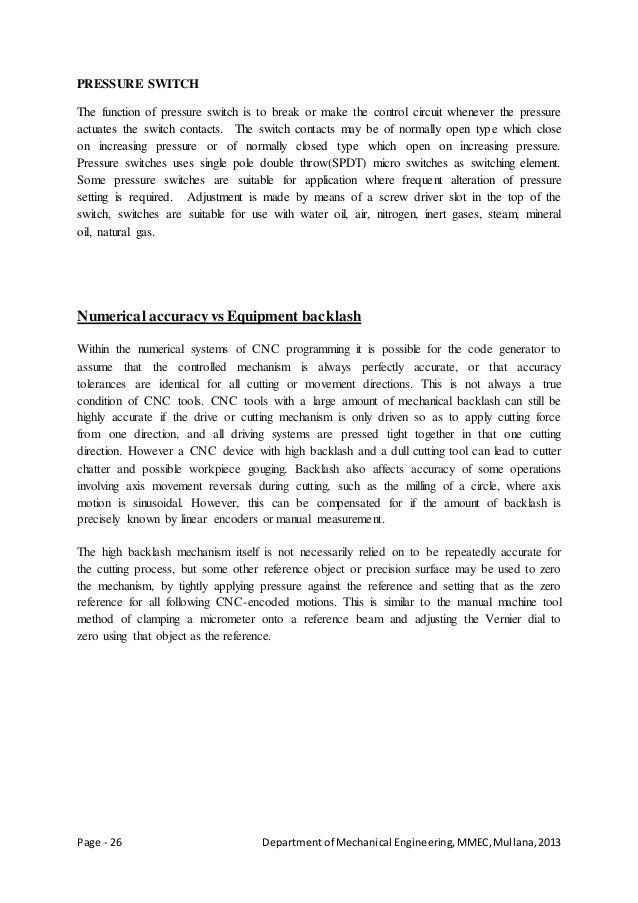 Page - 26 Departmentof Mechanical Engineering,MMEC,Mullana,2013 PRESSURE SWITCH The function of pressure switch is to brea...