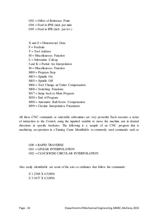 Page - 32 Departmentof Mechanical Engineering,MMEC,Mullana,2013 G92 = Offset of Reference Point G94 = Feed in IPM (inch pe...