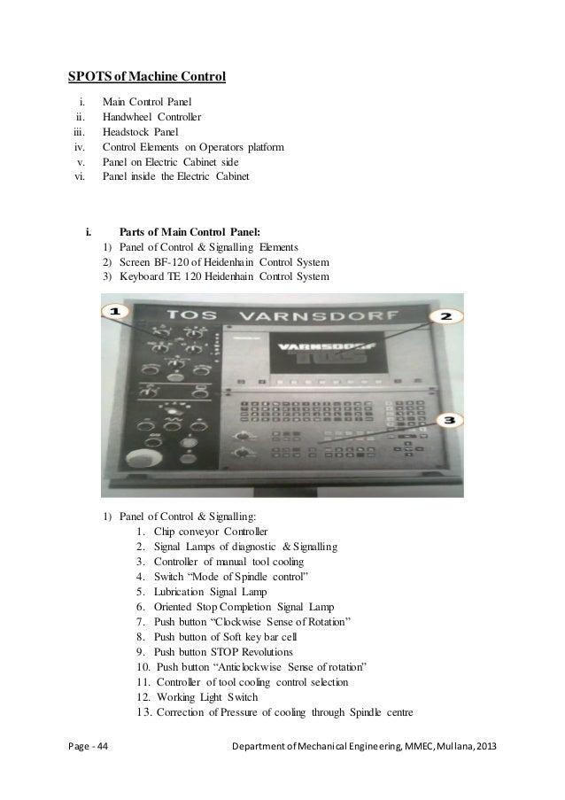 Page - 44 Departmentof Mechanical Engineering,MMEC,Mullana,2013 SPOTS ofMachine Control i. Main Control Panel ii. Handwhee...