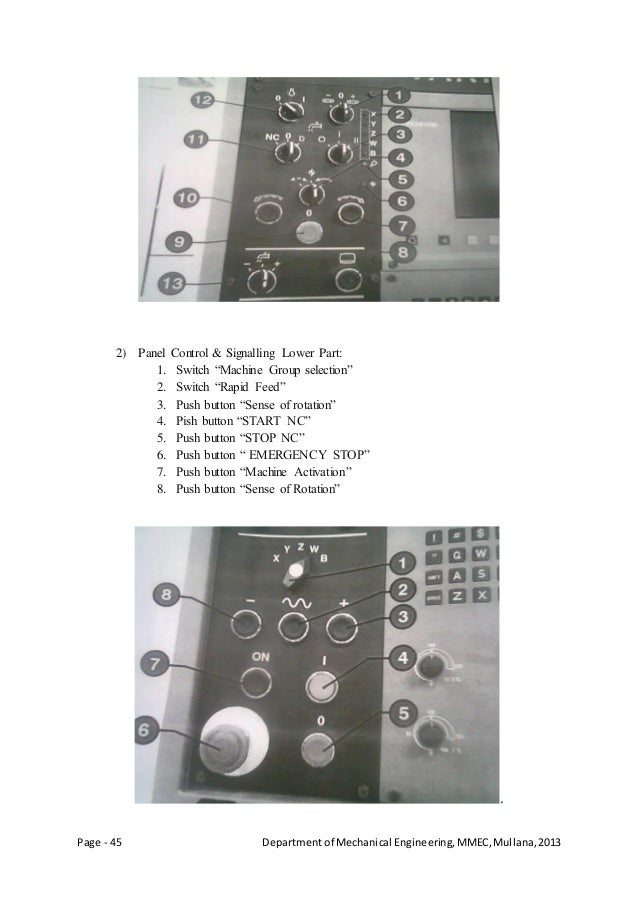 Page - 45 Departmentof Mechanical Engineering,MMEC,Mullana,2013 2) Panel Control & Signalling Lower Part: 1. Switch ―Machi...