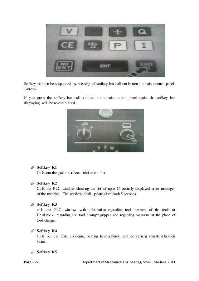 Page - 55 Departmentof Mechanical Engineering,MMEC,Mullana,2013 Softkey bar can be suspended by pressing of softkey bar ca...