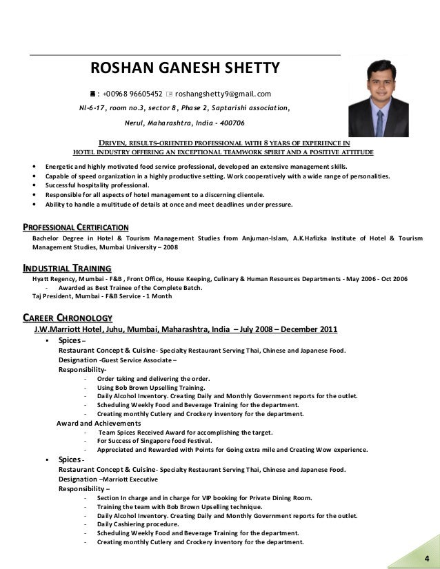 Enchanting Hotel And Tourism Management Resume Pattern - Best Resume ...