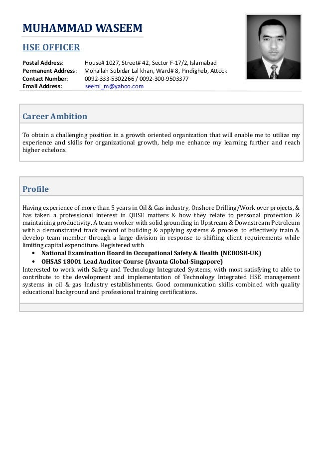 waseem hse officer cv