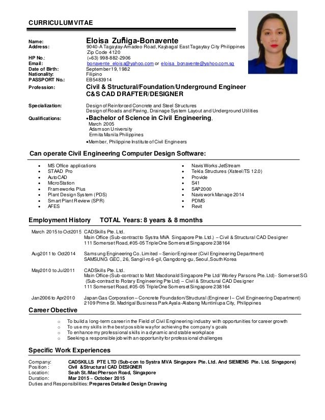 Civil Structural Engineer Sample Resume